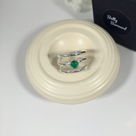 Green Onyx Cabochon Sterling Silver Wrap Ring