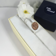 Sterling silver hammered band ring set with Gold Druzy Stone