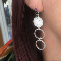 Sterling Silver Circle Hoop Drop Earrings
