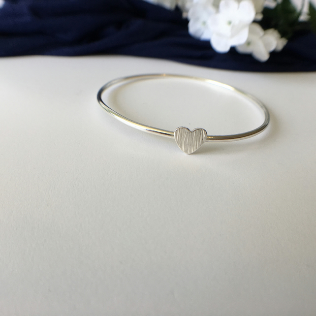 Bangle with Textured Heart