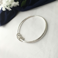 Sterling Silver Hammered Bangle with Hammered Rings