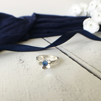 Eco Sterling Silver Daisy Ring with Crystal Centre