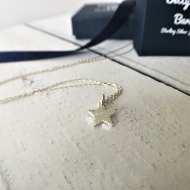Sterling Silver Hammered Star Pendant