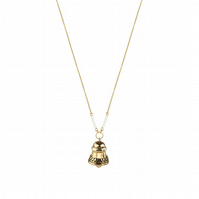 Ringing Bell CHARM necklace - long gold plated silver with real seed pearls