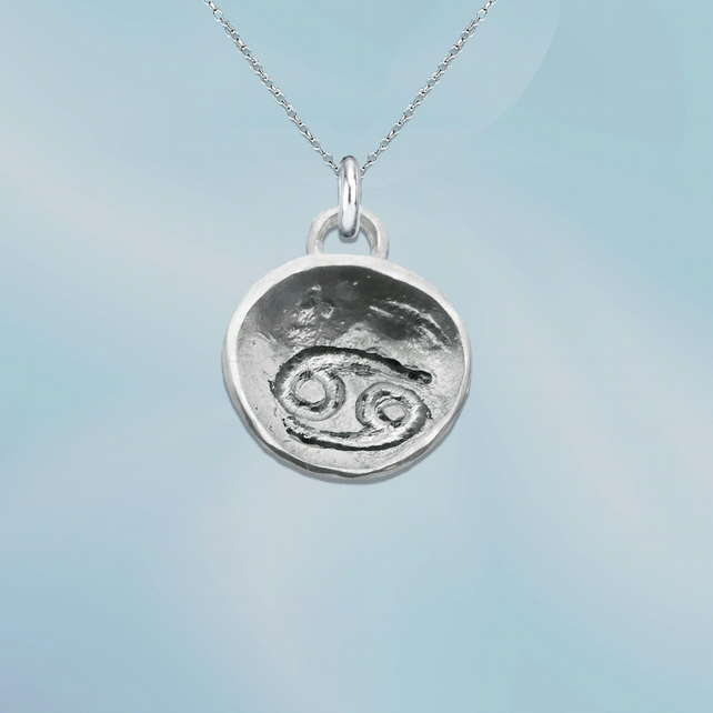 CANCER astrological charm - ZODIAC pendant - ETHICAL jewellery - sterling silver