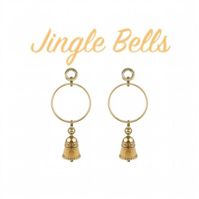 Ringing Bell CHARM earrings - gold plated silver ringing hoops - actually tinkle