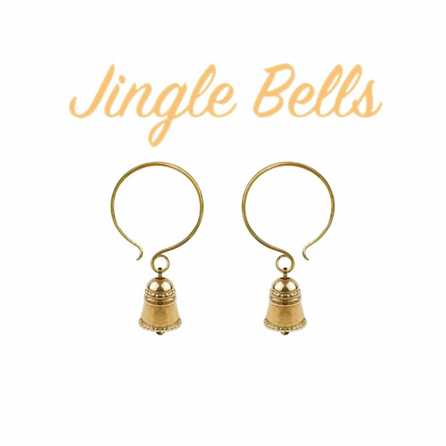 Ringing Bell CHARM earrings - gold plated silver ringing bells - actually tinkle