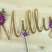 Purple Peony Personalised Name Glitter Cake Topper