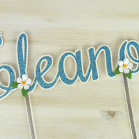 Daisy Personalised Name Glitter Cake Topper