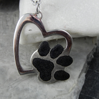 Silver handmade dog paw heart necklace