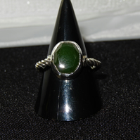 Silver ring with Green Nephrite (Jade) gemstone