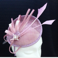 Lilac Pink Purple Sinamay Pearl Bespoke Fascinator Headpiece