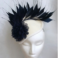 Ivory Cream Navy Blue Fascinator Flower Felt Wedding Races Occasion Hat
