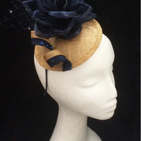 Gold Navy Blue Sequin Fascinator Wedding Rose Races Occasion Hat