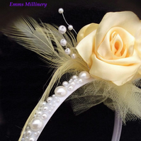 Lemon Yellow Rose Headband Wedding Bridesmaid Occasion Girl Woman Ladies