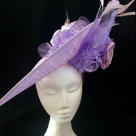 Large Lilac Hatinator Wedding Hat Races Ascot Derby Flowers Occasion Fascinator