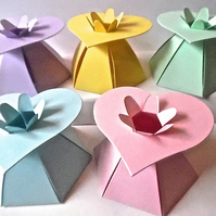 10 Heart Top Pastel favour Boxes. Baby Shower. Valentine