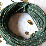 10 metres of Dark Green SPARKLE Cotton Bakers twine