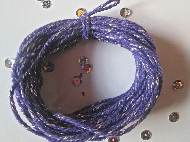 10 metres of Purple SPARKLE Cotton Bakers twine