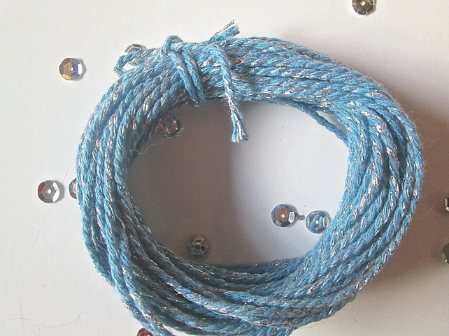 10 metres of Light Blue SPARKLE Cotton Bakers twine