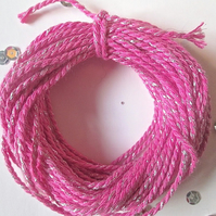 10 metres of Fuchsia Pink and Silver  SPARKLE Cotton Bakers twine