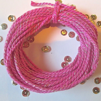 10 metres of Fuchsia Pink and gold SPARKLE Cotton Bakers twine