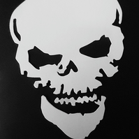 6 x White Skull Die Cuts. Hallowe'en Cut-Outs  115mm x 80mm