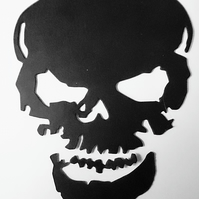 6 x Black Skull Die Cuts. Hallowe'en Cut-Outs  115mm x 80mm