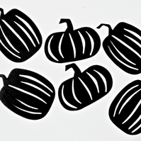 6 x  Black Pumpkin Die Cuts. Silhouettes Hallowe'en Cut-Outs