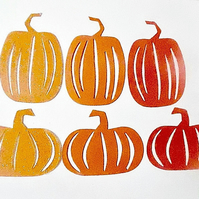 6 x  Orange Pumpkin Die Cuts. Hallowe'en Cut-Outs