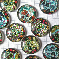 12 Glass Cabochons  20mm Skull Day of the Dead