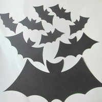 9 x  Black Bat Die Cuts. Silhouettes Hallowe'en Cut-Outs