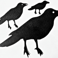 6 x Black Raven Crow Die Cuts. Silhouettes Hallowe'en Cut-Outs