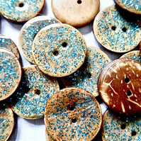 10 x  Blue Coconut Shell, Enamelled, Glitter Buttons