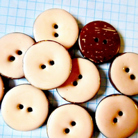 10 Pink Coconut Shell, Enamelled Buttons