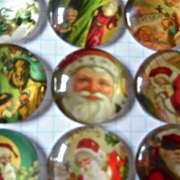 6 Glass Cabochons  25mm Father Christmas