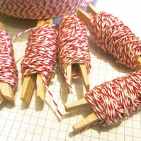 10mts Fine Red And White Bakers Twine