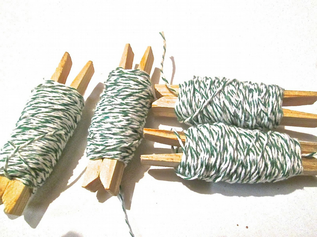 10mts Fine Green And White Bakers Twine