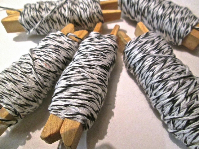 10mts Fine Black And White Bakers Twine