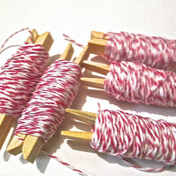 10mts Fine Pink And White Bakers Twine