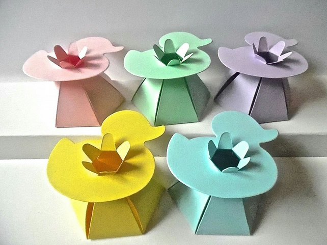 10 Pastel DUCK Top Favour Boxes Gift Box, Weddings, baby shower