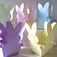10 Pastel Easter BUNNY Basket Favour Boxes