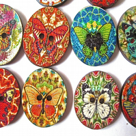 10 x Oval Shape Wood Butterfly Design Buttons  2 holes