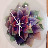 Echeveria Glass Wall Clock