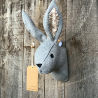 Wall mounted Rabbit head - Grey with patterned ears