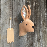 Wall mounted Rabbit head - Tan with patterned ears