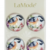 La Mode Buttons featuring various birds.