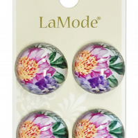 La Mode Buttons Featuring Flowers