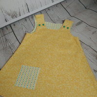 Libert Yellow Print Reversible Pinafore Dress - Two Dresses For The Price of One