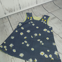 Daisy Print Reversible Pinafore Dress - Two Dresses For The Price of One